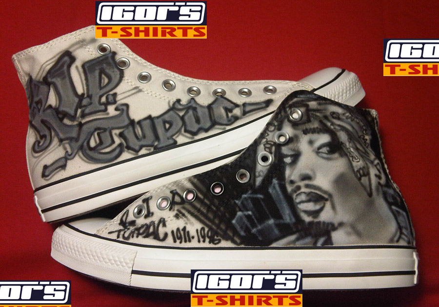96239f5b403d Gray Converse Chuck Taylor All Stars with airbrushed Tupac portrait