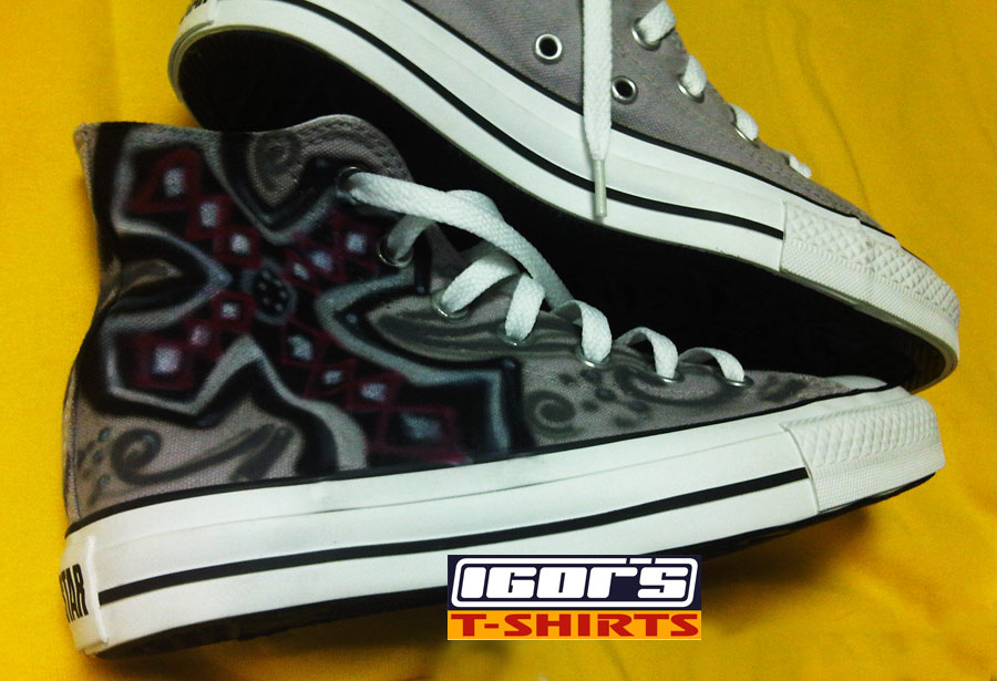 06d7e8e16ca2 Airbrushed cross and butterflies on Chuck Taylor Converse shoes