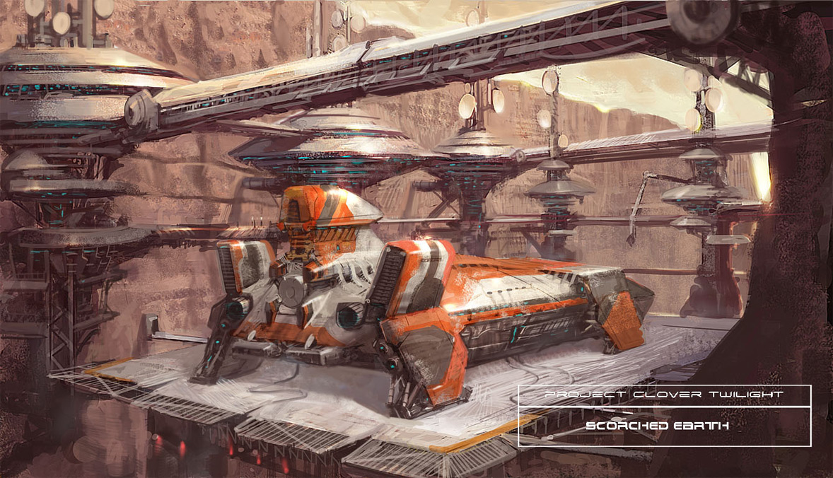 concept ships: Concept spaceship illustrations by Marco Kunardi