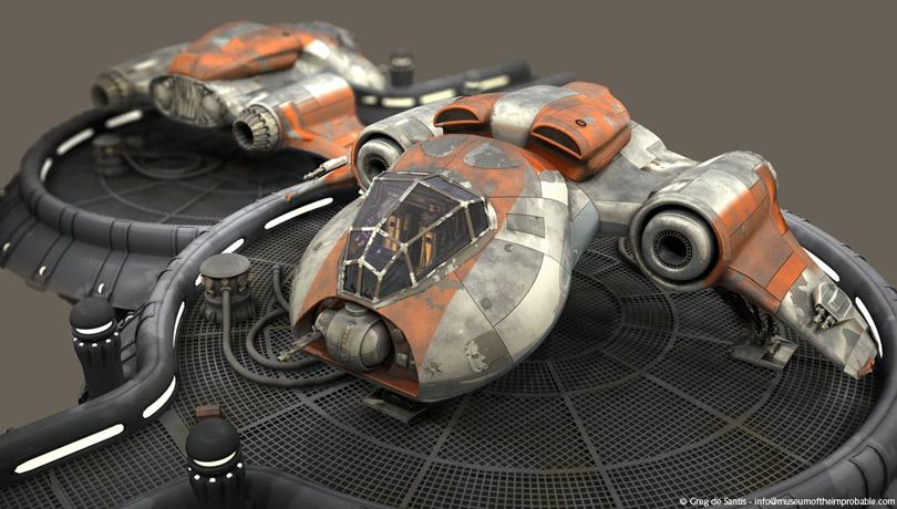 3D concept spaceship models by Greg deSantis