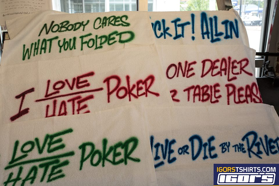 airbrushed poker towels