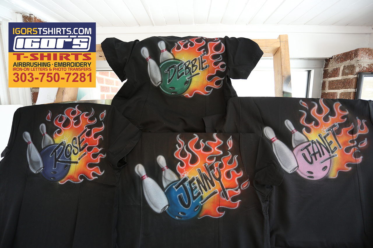 Custom bowling shirts igor 39 s t shirts and more for Custom made airbrushed shirts