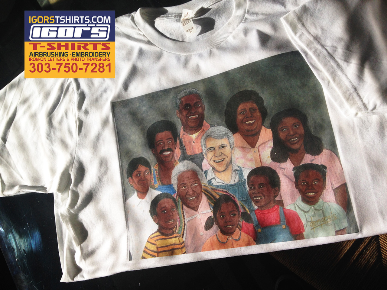 "image of the family portrait from the movie ""The JerK"" on a t-shirt"