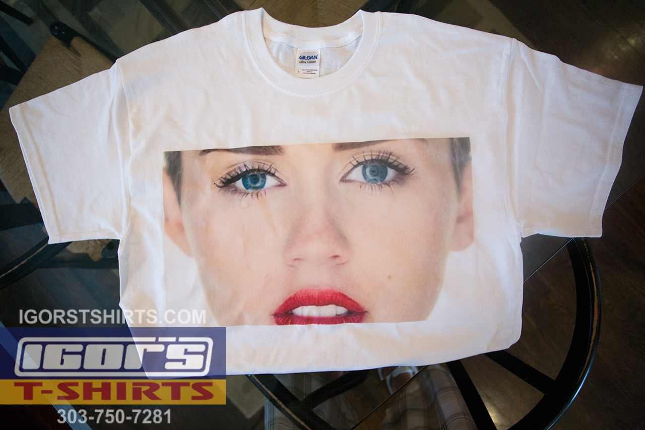 photo heat transfer Miley Cyrus shirt