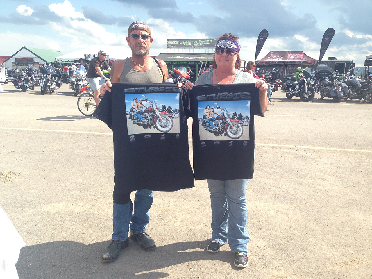 These shirts were our biggest hits! Photo's of people on their hogs.