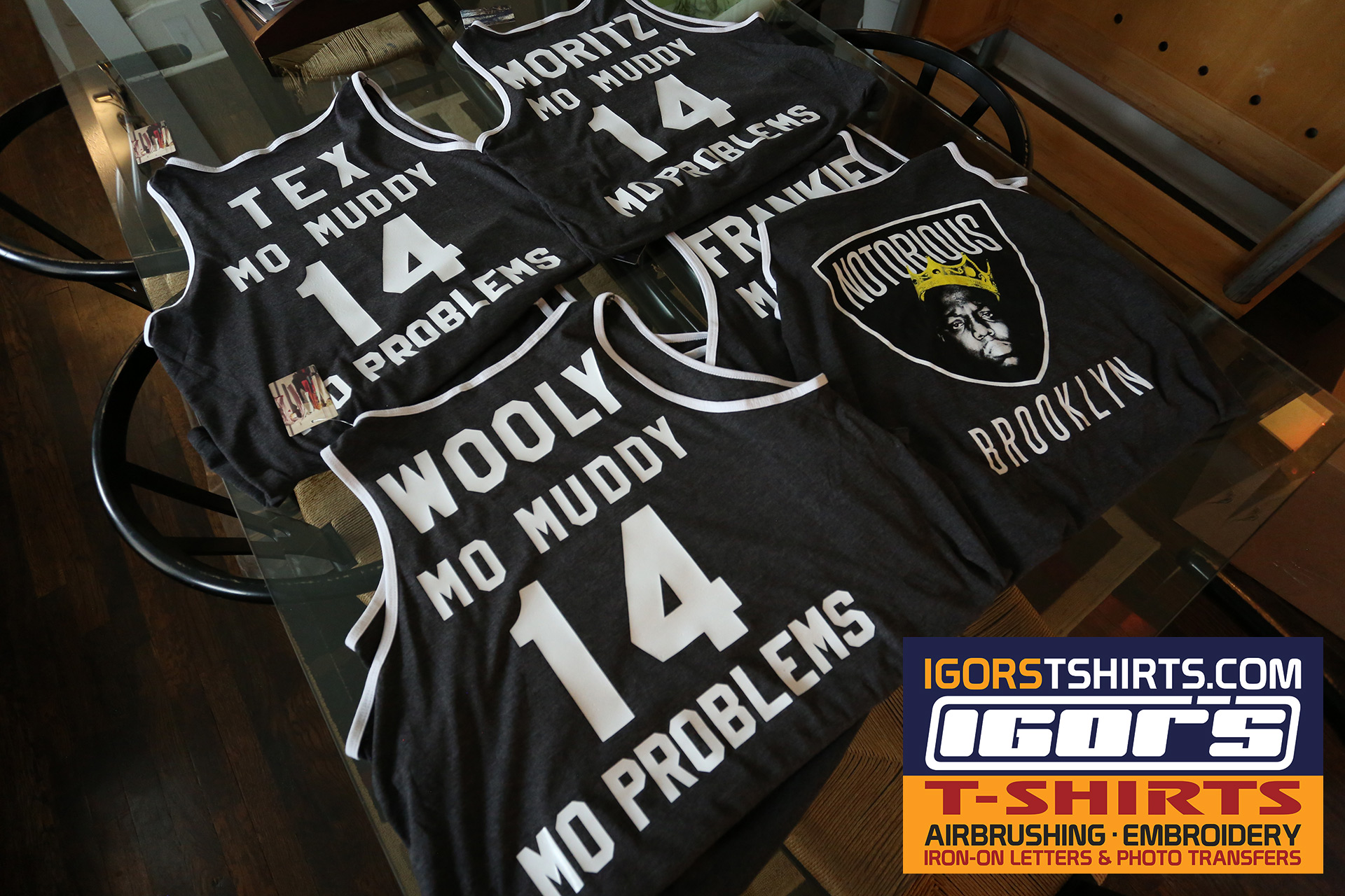 Custom Tough Mudder team shirts with vinyl Iron-on letters and numbers.